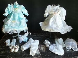 """LOT of 2 REPRODUCTION Style 8"""" DRESSES Ensemble 4 Antique BISQUE & ARTIST DOLLS"""