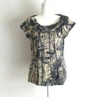 Veronika Maine Linen Silk Blue Structure Blouse Shirt Size 12
