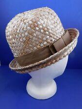 Vintage Womens Tan Straw Hat Brown Ribbon Union Made USA