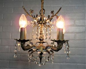 Vintage Antique Petite Spanish Brass Chandelier Baby Chandelier Crystal Prisms