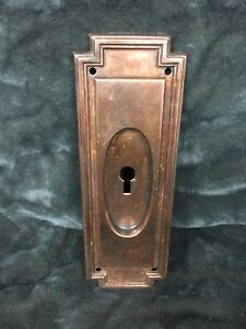 Vintage Antique Copper Door Lock Backplate Plate Cover