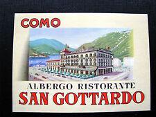 Ancienne Etiquette de Bagage -Hotel COMO ALBERGO RISTORANTE SAN GOTTARDO