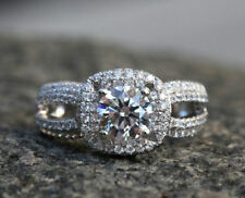 3/4 Ct Round Cut D/VVS1 Diamond 14K White Gold Over Solitaire Engagement Ring