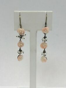 Adorable Coral and Pearl Yellow Gold Earrings