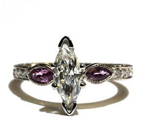 EGL certified 14k white gold 1.09ct Marquise diamond tourmaline engagement ring