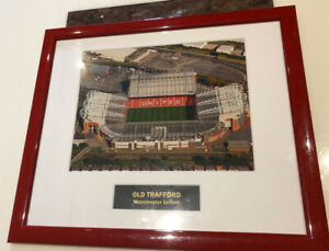 Old Trafford . Manchester United . Framed Photo Aerial View (39cm X 34cm)