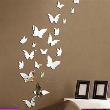 20PCS Modern Silver 3D Mirror Effect DIY Art Wall Stickers Home Decoration Decal