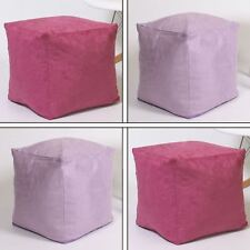 Faux Suede Footstool Foot Rest Pouffe Cube Box Seat Pink Purple Bean Bag Filled