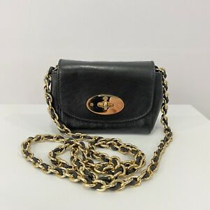 Mulberry Mini Lily Black Leather Gold Hardware