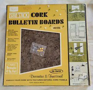 "Vintage Sears #6636 Wallcork Design Your Own Cork Bulletin Board 4-12X12"" Panels"