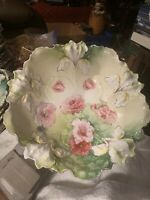Stunning Rare R S Prussia Green Cabinet Bowl with Pink Poppies a Beautiful Bowl!