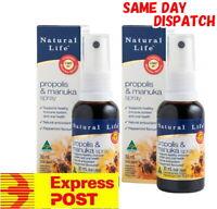 Natural Life Propolis & Manuka Honey Spray 30ml UMF10+ Relief Sore throats