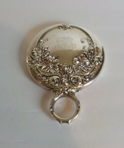 Wallace Sterling Silver Handle Hand Mirror Art Nouveau, c. 1890-1900