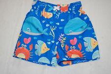 Baby Boys Swim Trunks Blue w/ Crabs Fish Shark Whale Octopus Sea Life Size 18 Mo