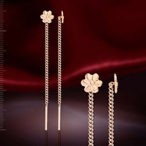 Threader earrings russian solid rose gold 585/14k  flowers 6mm NWT
