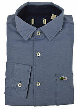Lacoste NWD Mens Blue Textured Soft Knit Button Down Shirt Sz 40 Medium M