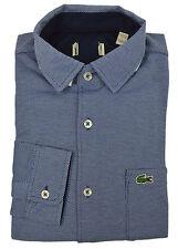 Lacoste NWD Mens Blue Textured Soft Knit Button Down Shirt Sz 39 S/M