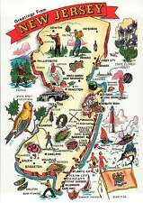 Greetings from New Jersey, Atlantic City, Trenton, Wildwood - State Map Postcard