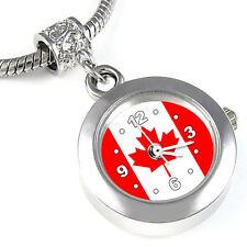 Canada Country Flag Silver European Charm Bead Quartz Watch For Bracelet EBA230