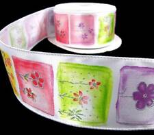 "5 Yd Spring Summer Flowers Satin Wired Ribbon 2 1/2""W"