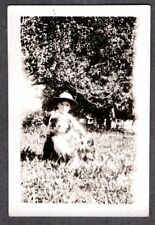 Vintage Photograph 1930'S Little Boy Hat Farm Fashion Collie Dog Puppy Old Photo