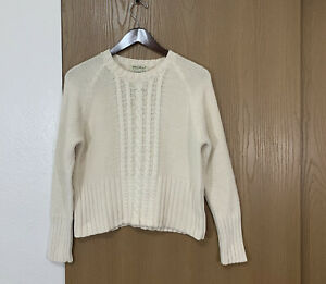 Vintage Eddie Bauer Womens Cotton Sweater Ivory Textured Cable Knit Fisherman L