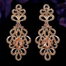 Rose Gold Plated Peach Crystal Rhinestone Wedding Drop Dangle Earrings 08907 New