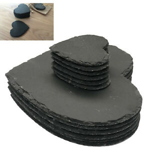 Set of 8 Natural Slate HEART 4 Placemats & 4 Coasters Tablemat Dinner Set