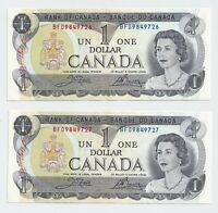 2 x Sequential 1973 $1 Bank of Canada Notes Crow Bouey UNC