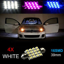 4pcs Super White 39MM 16 SMD LED Festoon Dome Map Interior Light Globe Bulb 12V