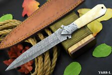 Damascus Steel Dagger Hunting Knife Handmade With Camel Bone Handle (Y688-L)