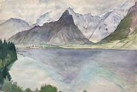 Acquerello Impressionista Vista su il Königssee Berchtesgaden Autografato Datato