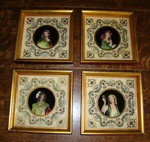 Sungott NY Neoclassical Ladies Boudoir Hand Painted Art Glass Gold Gilt Frame