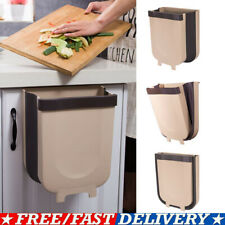 Wall Mounted Folding Waste Bin Kitchen Cabinet Door Hanging Trash Can Bin Usa