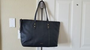 NWT Fossil XL Large Jenna Black Pebbled Leather Work Tote Hand Weekender Bag