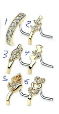 1 PIECE 20g Nose Ring Stud CZ Crawler 316L Surgical Steel L Bend Gold Plated