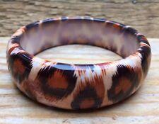 Retro Animal Print Plastic Bangle/Big Bracelet/Orange/Kitsch/Tiger Skin Effect