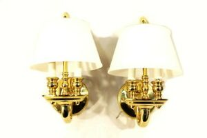 Brass Wall Sconces Pair 2 Light Candelabra Style w Frosted Glass Shades