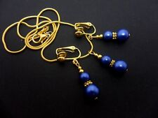A  COBALT BLUE  & GOLD TONE GLASS PEARL  NECKLACE AND CLIP ON EARRING SET. NEW.