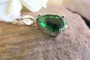 Emerald pendant necklace sterling silver green emerald teardrop jewellery.
