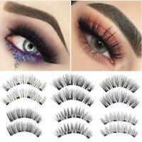 Natural Fiber 3D Magnetic False Eyelashes Glue Free Magnets Eyelashes 4PCS/Set