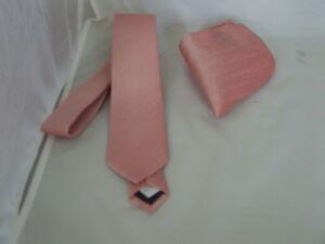 "Dusky Pink Mens Skinny Tie and Hankie Set-2.5"" = 6cm Width - P&P 2UK >1st Class"