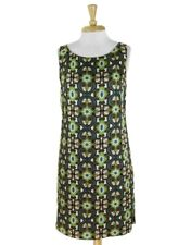Max Studio Green Brown Printed Silk Shift Dress Size S