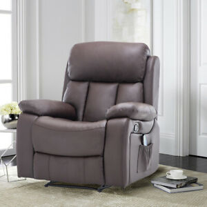 Luxury Leather Cinema Electric Heated Massage Armchair Recliner Home Sofa Chair