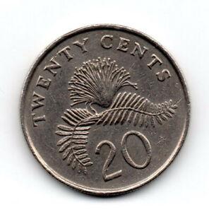 Singapore 1989, Powder-Puff plant fronds Callandria Surinamensis, twenty cents