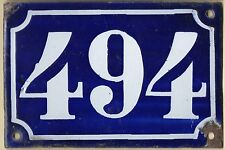 Old blue French house number 494 door gate plate plaque enamel metal sign c1900