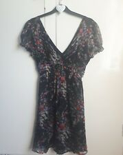 Lipsy Beautiful Black Floral Summer Party V Neck Mini Dress Size 10