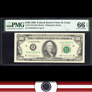 GEM 1990 $100 ST LOUIS FRN Federal Reserve Note PMG 66 EPQ Fr 2173-H  H36702217A