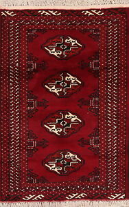 Geometric Handmade Bokhara RED Area Rug Home Decor Wool Oriental Carpet 3'x4'