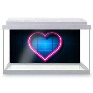 Fish Tank Background 90x45cm - Cute Neon Love Heart Sign  #3990